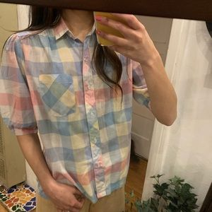 Pastel vintage 💚🌸💛 puff shoulder sleeved shirt